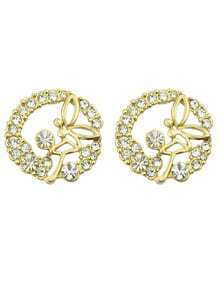 Elegant Style Beautiful White Rhinestone Round Stud Earrings Woman