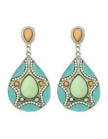 Green Women Drop Imitation Gemstone Earrings