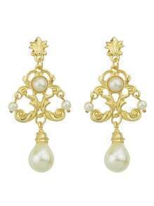 White Chandelier Design Gold Plated imitation Pearl Earrings