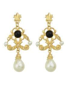 Black Chandelier Design Gold Plated imitation Pearl Earrings