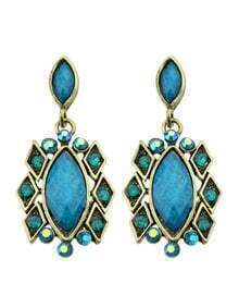 Blue Imitation Gemstone Drop Stone Earrings
