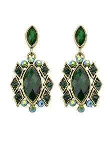 Green Imitation Gemstone Drop Stone Earrings