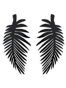 Gothic Punk Black Acrylic Leaf Shape Long Earrings