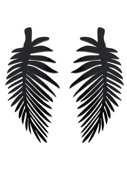 Gothic Punk Black Leaf Earrings