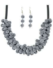 Gray Women Necklace Earrings Velvet Beads Jewelry Set