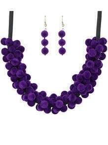 Purple Women Necklace Earrings Velvet Beads Jewelry Set