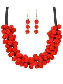 Red Women Necklace Earrings Velvet Beads Jewelry Set