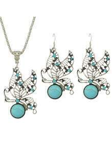 Vintage Style Imitation Turquoise Rhinestone Butterfly Shape Fashion Jewelry Set
