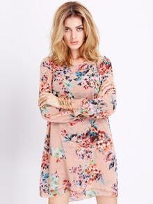 Apricot Long Sleeve Floral Dress