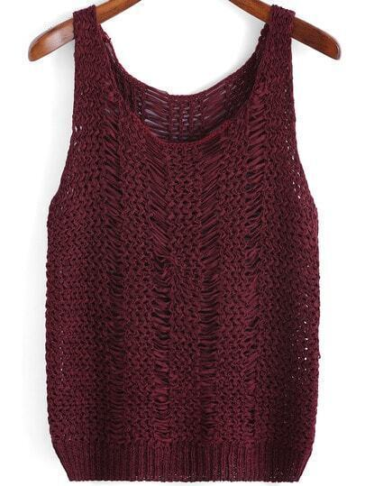 Red Scoop Neck Hollow Knit Tank Top
