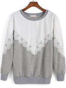 White Grey Round Neck Lace Loose Sweatshirt