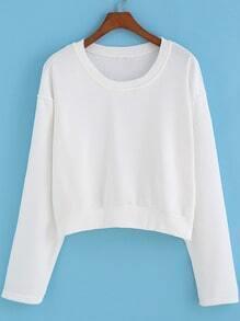 White Round Neck Crop Sweatshirt