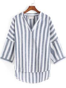 Grey White V Neck Vertical Stripe Dip Hem Blouse