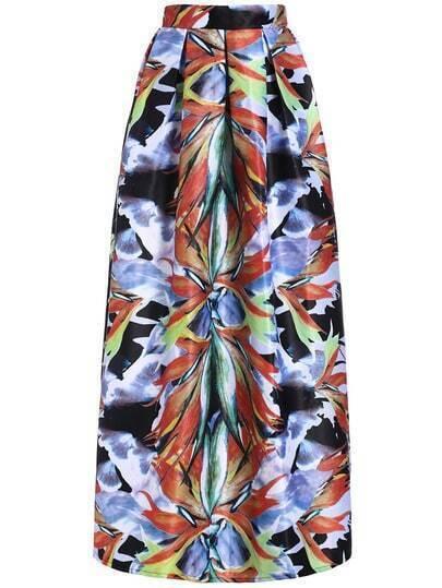 Multicolor High Waist Floral Maxi Skirt