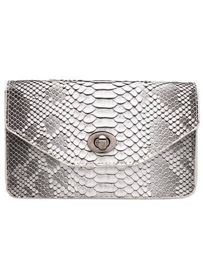 Grey Snakeskin Pattern PU Shoulder Bag