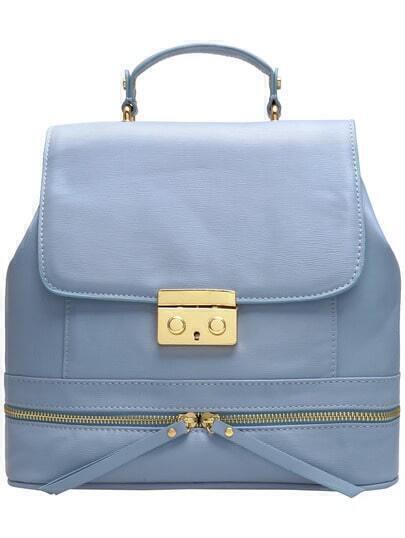 Blue Zipper Metal Buckle Backpack