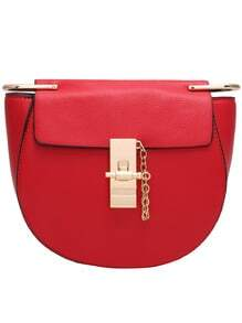 Red Key Buckle Semicircle PU Shoulder Bag