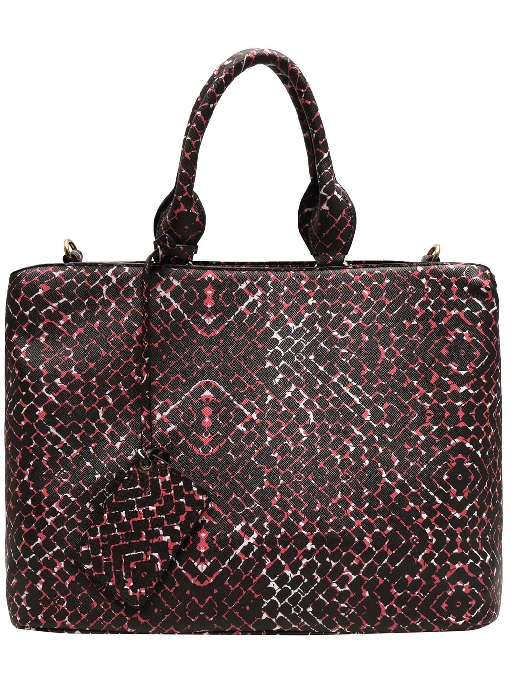 black floral tote bag with mirror shein sheinside