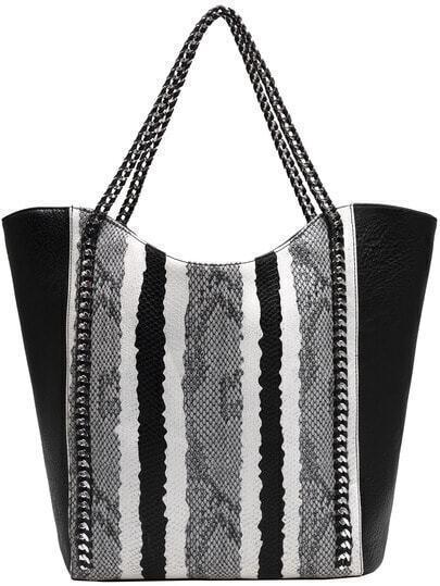 Black White Snakeskin PU Tote Bag