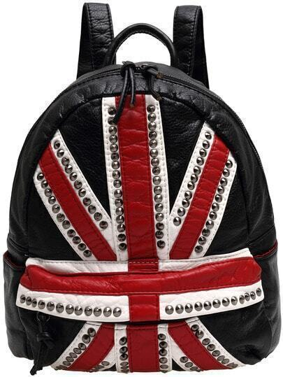 Black Red Union Jack Pattern Rivet Backpack