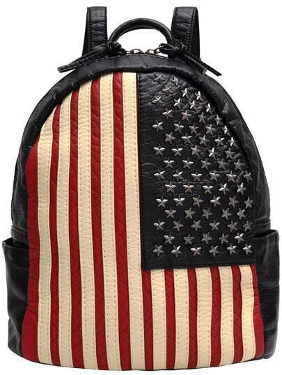 Black Red Vertical Stripe Stars Rivet Backpack