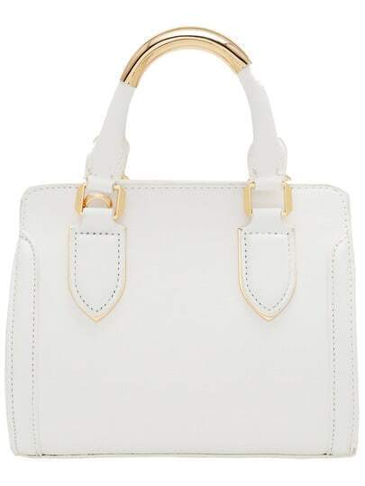 White Metal Embellished PU Tote Bag