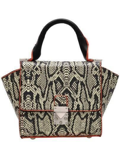 Black Khaki Snakeskin Print PU Tote Bag