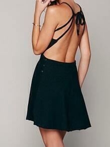Black Bodysuit Spaghetti Strap Backless Dress