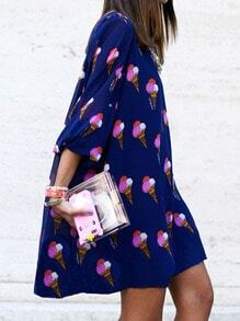 Blue Round Neck Cones Print Loose Dress
