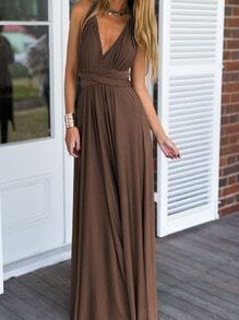 Khaki Deep V Neck Self-Tie Maxi Dress