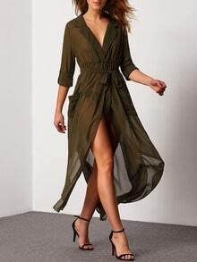 Green Surplice Deep V Neck Self-Tie Pockets Chiffon Dress