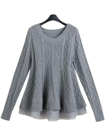 Grey Round Neck Diamond Pattern Peplum Hem Sweater