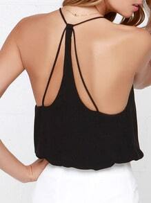 Black Spaghetti Strap Loose Cami Top
