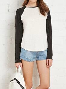 Colour-block Round Neck Modal T-Shirt