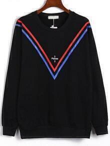 Black Round Neck V Letters Print Sweatshirt
