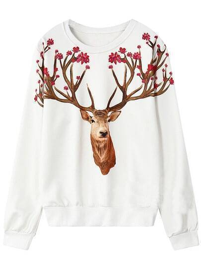 White Round Neck Deer Print Loose Sweatshirt