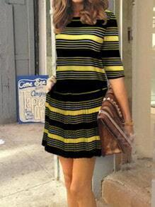 Black Yellow Round Neck Striped Top With Skirt