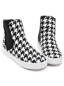 Black White Houndstooth Print Boots