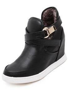 Black Casual Buckle Strap Boots