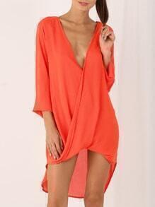 Orange Auburn Deep V Neck High Low Dress