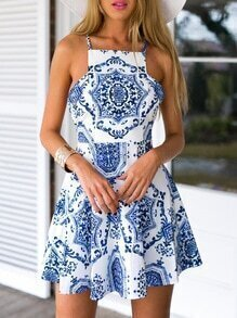Multicolour Spaghetti Strap Beautifully Vintage Print Dress