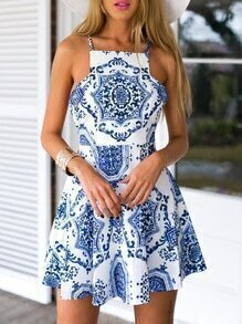 White Spaghetti Strap Beautifully Vintage Print Dress