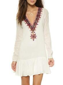Beige Long Sleeve V Neck Embroidered Dress
