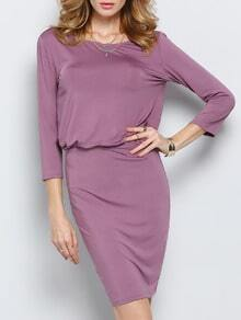 Purple Lila Half Sleeve V Back Dress
