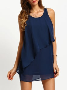 Navy Sleeveless Ruffle Dress
