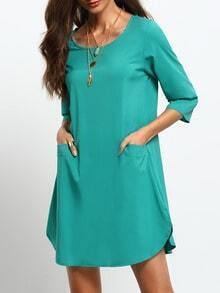 Green Teal Round Neck Pockets Dress