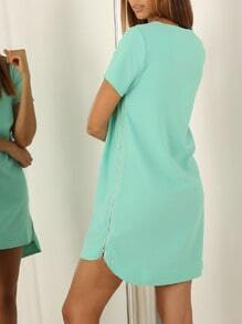 Green Short Sleeve Zipper Dress