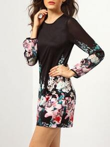 Black Long Sleeve Festive Holidays Festivals Petals Floral Dress