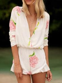 Beige Long Sleeve Deep V Neck Floral Playsuit