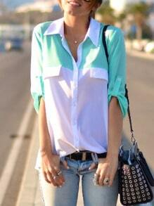 White Green Half Sleeve Color Block Blouse